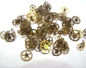 Steampunk Watch Pieces and Parts - 100 small to medium vintage brass watch gears Cogs Wheels