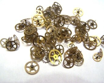 Steampunk Watch Pieces and Parts - 75 small to medium vintage brass watch gears Cogs Wheels