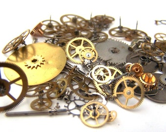 Steampunk Watch Pieces and Parts - 75 plus pieces of VINTAGE gears, wheels, hands, crowns, stems, etc.