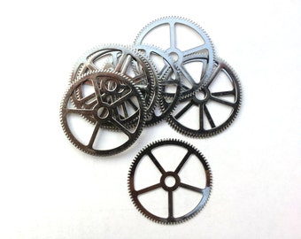 Steampunk Watch pieces and parts Clock gears - 5 extra Large Silver Steel Gears Cogs Wheels 33mm