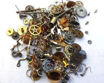 Steampunk Watch Pieces and Parts - 150 plus pieces (5g) of TEENY TINY VINTAGE gears, cogs, wheels, hands, crowns, stems, etc.