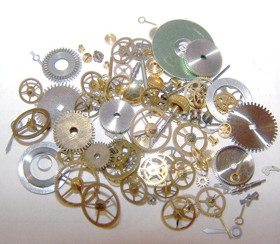 steampunk watch parts, vintage watch pieces, watch gears, watch wheels, watch hands, watch part lot, steampunk supplies, steam punk pieces,