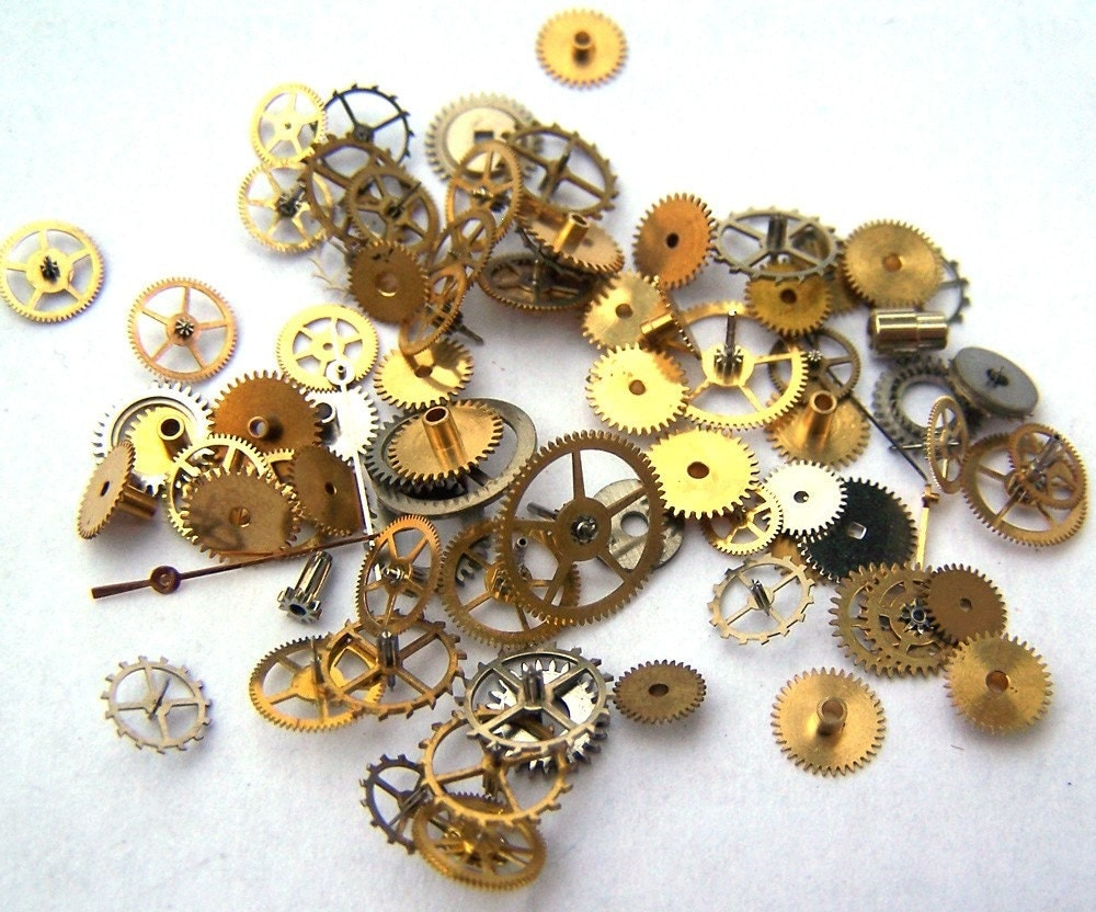 Steampunk Watch Pieces and Parts - 75 small vintage mixed ...