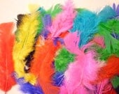 Large Bag of Fluffy Dyed Marabou Bird Plumage Feathers in Jewel Tone Colors 4-6 inches long