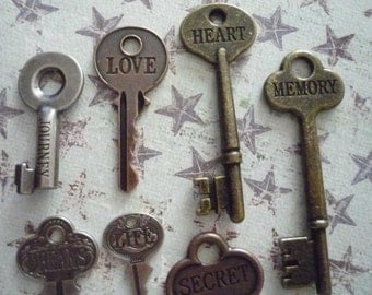 Inspirational Vintage 7 Engraved Word Keys by Tim Holtz Journey Love Life Memory Heart Secret Dreams Antiqued Brass Copper & Silver (359184)