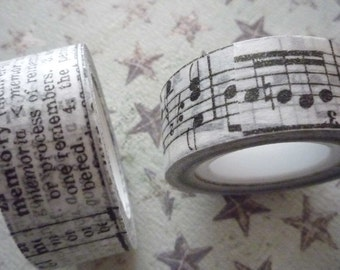 2 Rolls Adhesive Tissue Tape Ribbon Trim of Symphony Music & Dictionary Definitions by Tim Holtz 32 Yards (431794)