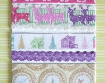 "CLEARANCE SALE: Winter Fairy Tales Fabric Ribbon Trim Christmas Trees, Reindeer, Butterflies & Fairies 5 Pieces 18"" Each - 90"" Total"
