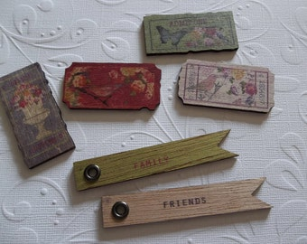 Wood Tag Embellishments - Meadow Lark Wood Tickets - Flag Banners - Text Friends & Family Bird, Butterfliy and Flower Images - Qty 12 pieces