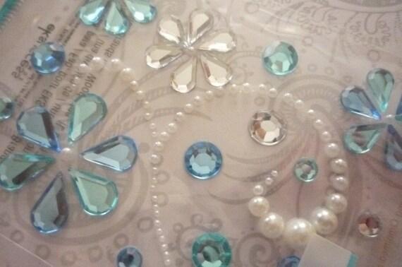 Blue Gemstone Flower & White Pearls Scroll Stickers by Martha Stewart
