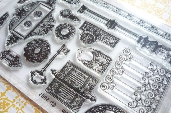 Structural Hardware Clear Art Stamps with Text with Gates, Column, Door Knobs, Fence, Cornices  - Clear Rubber Stamps 16 Pcs
