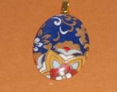 Blue Oriental Oval Glass Tile Pendant