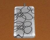 Black and White Flower Rectangle Glass Tile Pendant