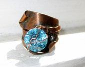 Copper Ring OOAK , Industrial Chic, Blue Topaz CZ , Wire wrapped Copper ring