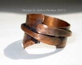 Copper ring, OOAK Industrial chic, Renaissance ring, Metalwork