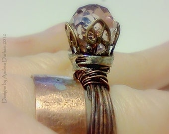 OOAK Wrapped wire copper ring, handmade Elven Wedding ring, Cocktail ring