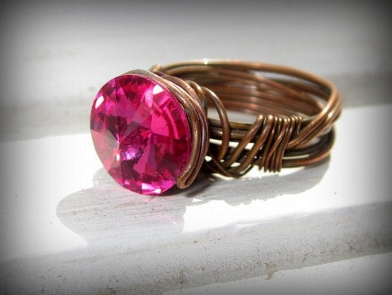Wrapped Wire Ring OOAK with Swarovski Fushia crystal...Twisted Elvan Love