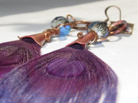 Purple peacock earrings -one of a kind - Handmade copper dangle earrings