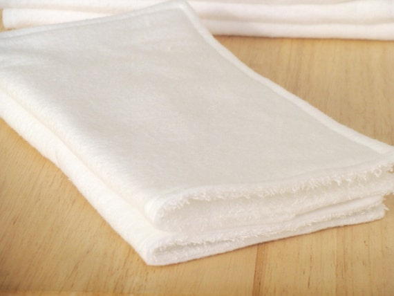 Fairface Washcloths for ultra sensitive skin - package of 2 - crisp white - soothing flannel/terrycloth - extra large 9x9