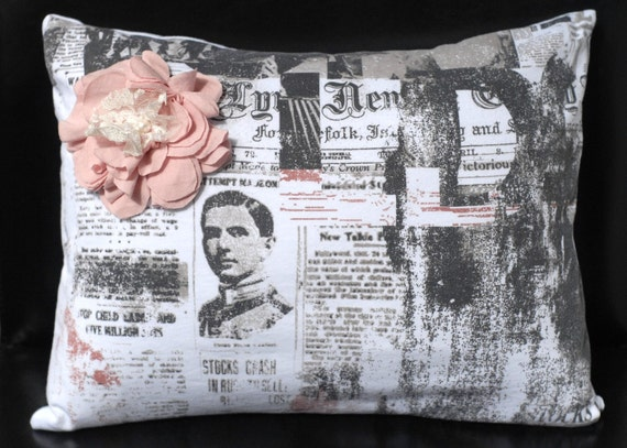 "Throw Pillow, Decorative Pillow, Unique Newsprint Design Pillow Case - 12"" x 16"" - Jersey Newsprint Knit with fabric flower embellishment"