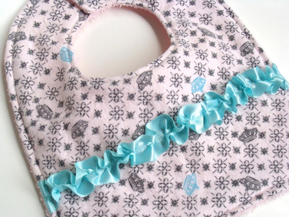 SALE! Baby Girl Bib and Burp Cloth Set - Princess Crowns - Pink with Aqua Satin Ribbon Accent - Absorbent Flannel / Terrycloth