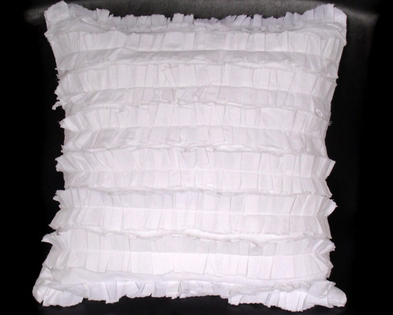 White Shabby Chic Pillow Cases : Shabby Chic Ruffled Pillow Case white cotton muslin 14