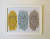 """Owl Trio-Modern Urban Chic colorful  Owl wall art nursery decor  PRINT 8""""x10"""""""