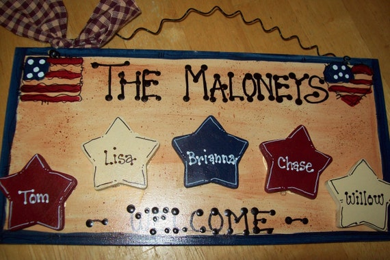 Americana Stars Country wood crafts sign personalized Home Military Decor