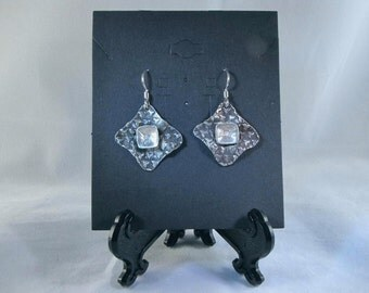 Silver, square, dangle earrings with black patina and bright silver square insert