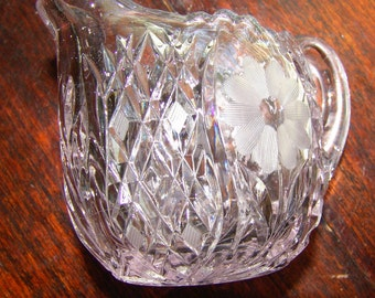 Sugar and Creamer Cut Etched Glass Clear turning Purple
