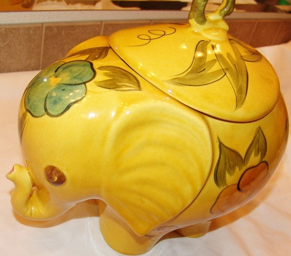 Elephant cookie jar vintage flora yellow by theroguerooster - Vintage elephant cookie jar ...
