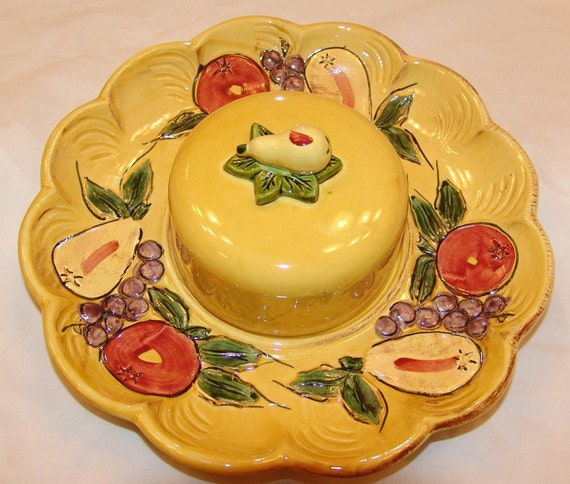 Large Serving Tray with Domed Lid Fruit and Vegies Maurice of Calif 1950s