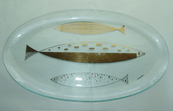 Fred Press Mid Century Heavy Glass Fish Platter signed