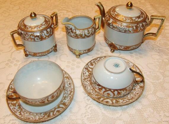 Nippon Tea Set 1918's marked S&K NIPPON Very fine china