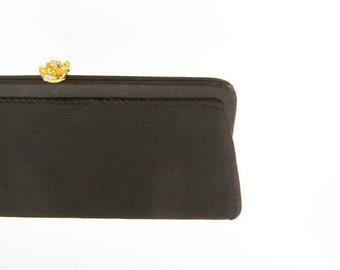 Vintage Black Fabric Evening Clutch