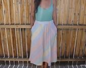 Vintage 1970s Candy Stripe Skirt / A Line Skirt / 70s Hippie Skirt