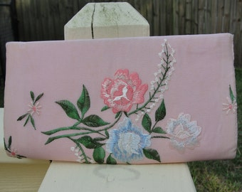 1950s Clutch / 50s Floral Embroidered Clutch