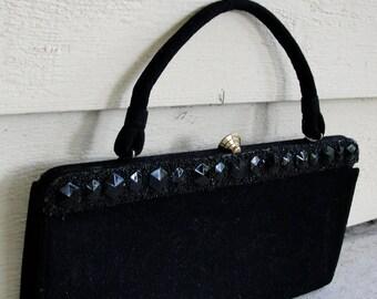 Vintage 1950s Purse / 50s Embellished Handbag