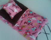 "Ships Today.  Top Seller.  Christmas SALE Selected bags 15.  Over 50 Doll Sleeping Bags- ""PEACE OWL""- American Girl Doll ."