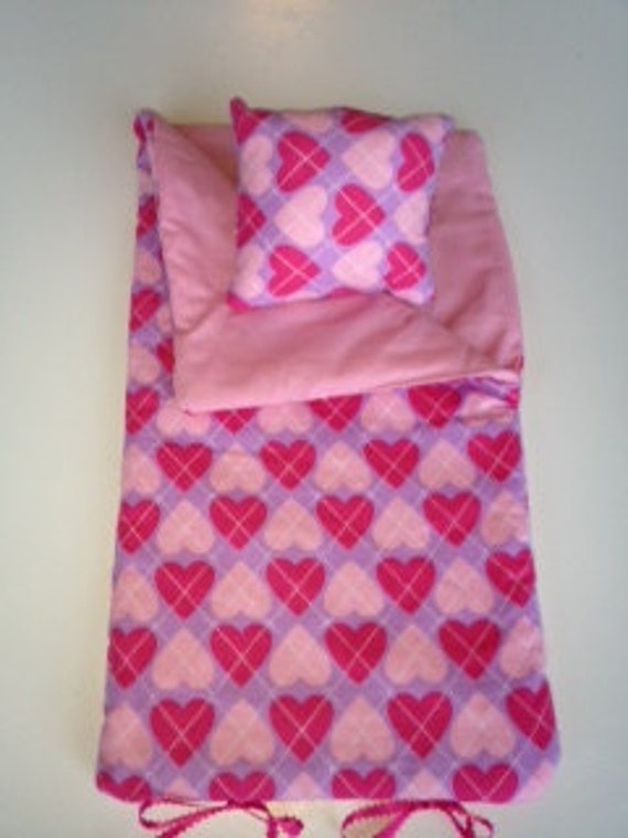 "Last One. Doll Sleeping Bag-""PINK HEARTS""  Fits 18 inch American Girl -Huge SALE Selected bags 12-18 each. Also Ruffled Baby Leg Warmer Sale"
