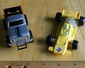 vintage toy truck and race car