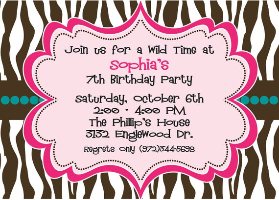 Hot Pink and Brown Zebra Print - Girls Birthday Party Invitation, Bridal Shower, Bachelorette Party,  - INCLUDES Return Address Printing
