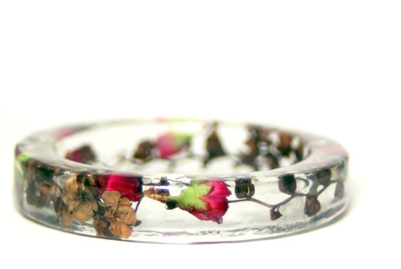 Bangle Clear Fuchsia Pink Flower Buds and Brown Flower Stems Chunky Resin Bangle