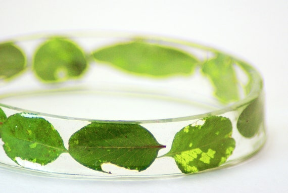 Caterpillar Garden- Green Bracelet -Real Dried Flower Leaves Jewelry- Resin Jewelry-Spring Summer Jewelry- Nature