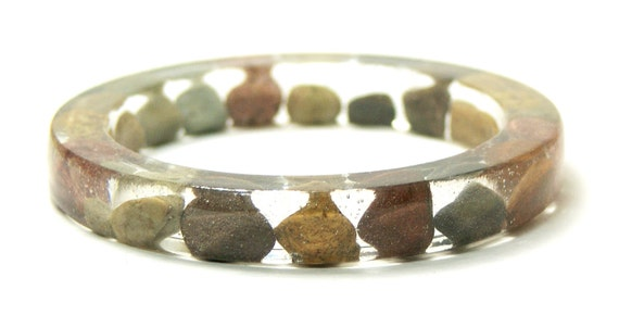 Resin Bangle- Jewelry made with Real Rocks- Natural Jewelry-