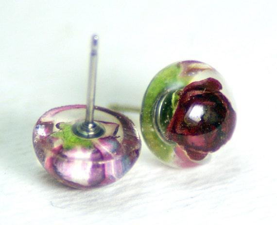 Red Earrings-Red Jewelry- Real Flower Earrings- Flower Jewelry- Resin Jewelry- Post Earrings- Stud Earrings