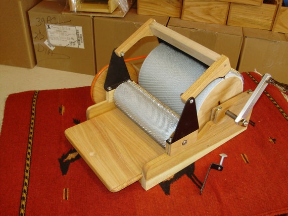 SCP, Hand Turned, Double, Drum Wool Carder, with Brush