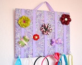 SMALL Purple Paisley Hair Bow Holder Accessory Board Organizer With Hooks for Headbands
