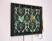 Jewelry Earring Black Frame Organizer Black and White Damask with 30 Hooks