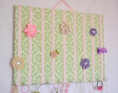 EXTRA LARGE Light Green Pink Damask Hair Bow Holder Accessory Wall Organizer With Hooks for Headbands