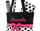 Diaper Bag Personalized Quilted 3 pc Black Fuchsia Dots